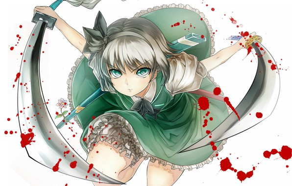 Picture attack, katana, blood, Konpaku Youmu, blood spatter, wakizashi, obsessed, touhou project, by Purdre