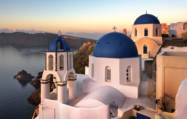 Picture sea, landscape, sunset, the city, rocks, island, Santorini, Greece, Church, dome, Thira, Ia