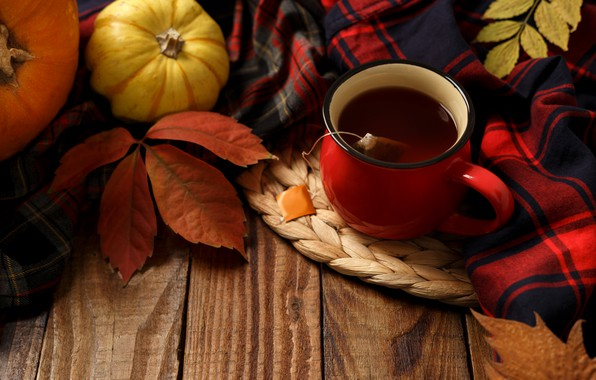 Picture autumn, leaves, background, Board, colorful, pumpkin, maple, wood, background, autumn, leaves, cup, autumn, tea, pumpkin, …