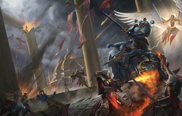 Picture temple, battle, Adept Sororitas, Warhammer, Warhammer 40 000, Sister of Battle, traitors, Alpha Legion, chaos …