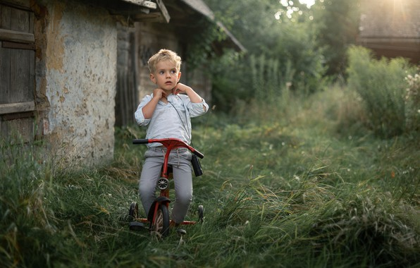 Picture bike, mood, boy