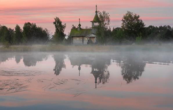 Picture fog, lake, Church