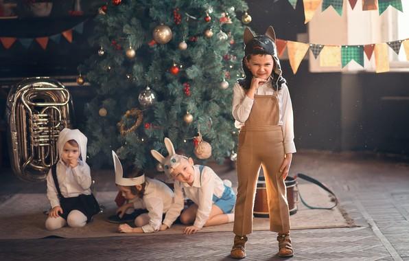 Picture children, holiday, the game, new year, wolf, tree, mask, bunnies, kindergarten, Marianne Smolin