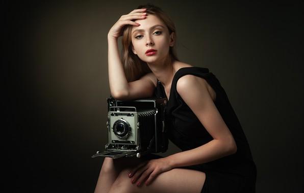 Picture girl, pose, style, background, portrait, hands, makeup, dress, the camera, Sergei Martynov, Nastya Panova