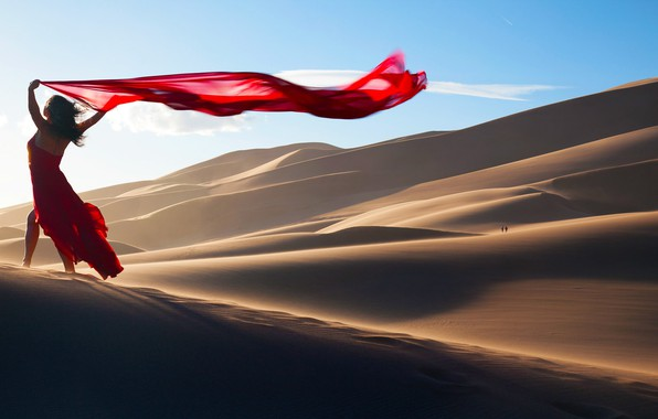Picture sand, girl, the dunes, pose, mood, desert, red dress