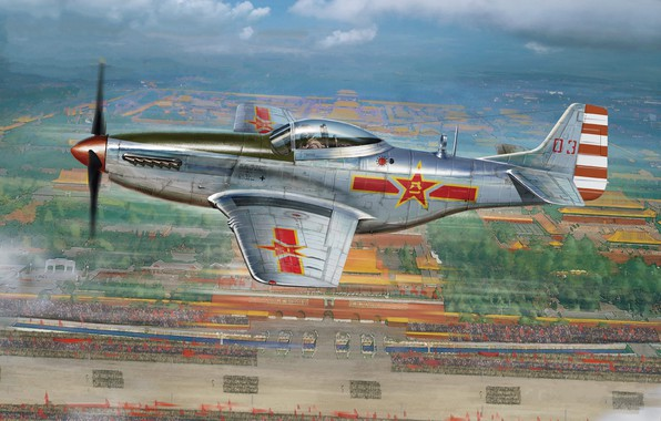 Picture P-51, North American P-51 Mustang, Air China, Piston fighter