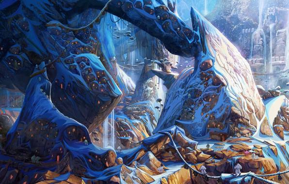 Picture mountains, castle, fantasy, art, Smallfoot - Visual, jason scheier