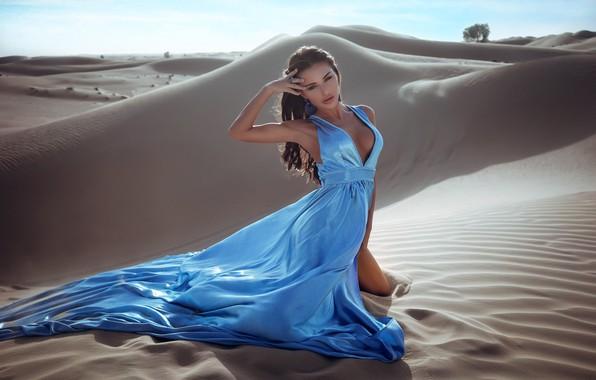 Picture sand, chest, pose, Girl, dress, Anton Shabunin, Anton Shabunin