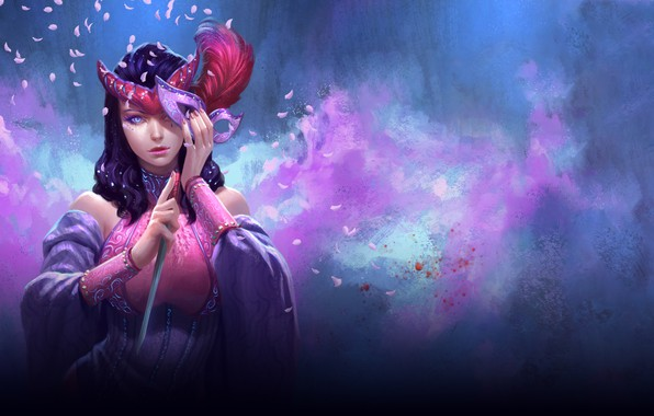 Picture look, girl, background, feathers, petals, mask, fantasy, art