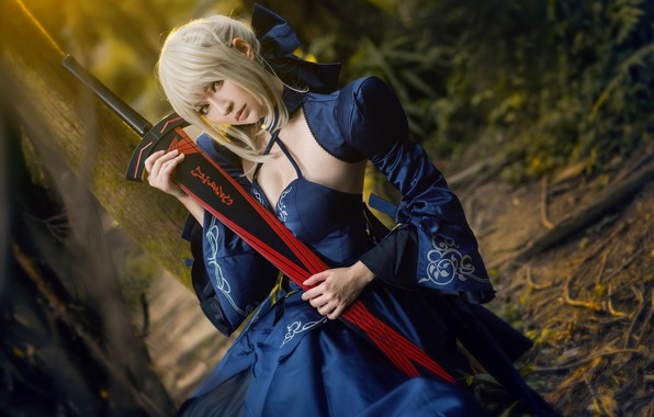 Picture forest, look, girl, blue, nature, style, weapons, background, portrait, sword, hands, hairstyle, blonde, costume, image, …