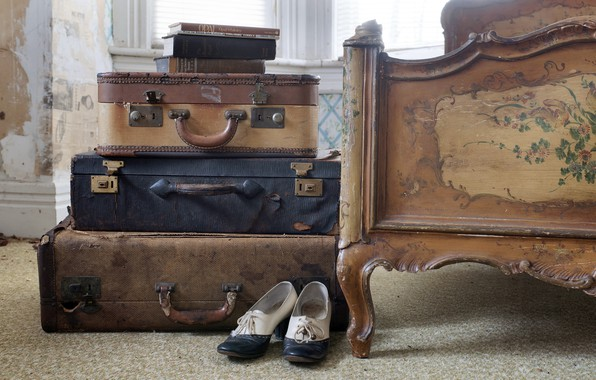 Picture books, shoes, suitcases