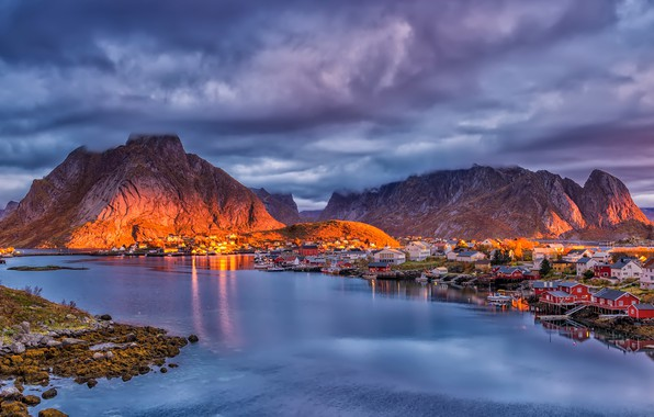 Picture the sky, the sun, mountains, clouds, home, boats, Norway, Bay, piers, The Lofoten Islands, Pure