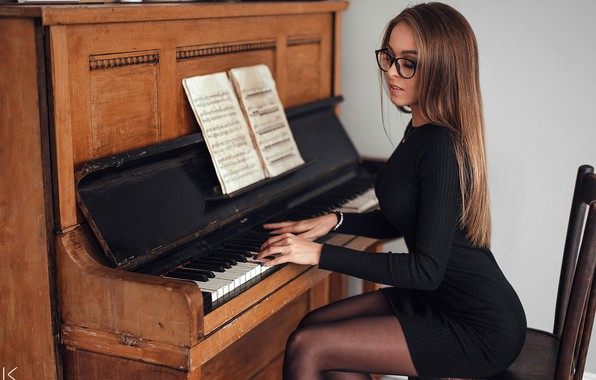Picture girl, pose, notes, music, mood, model, makeup, figure, dress, glasses, hairstyle, brown hair, beautiful, piano, …
