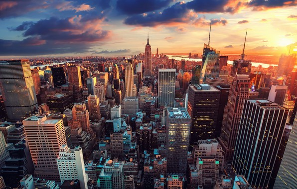Picture city, USA, sky, photography, sunset, New York, Manhattan, NYC, New York City, clouds, rivers, Empire …