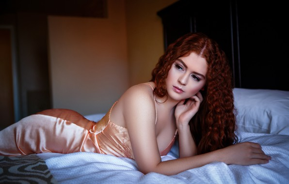 Picture girl, pose, bed, bed, red, curls, redhead, Allie Summers