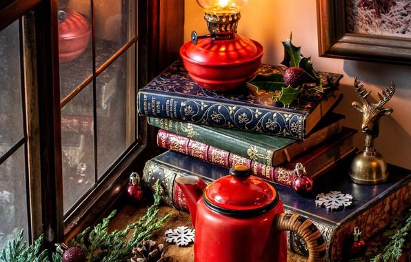 Wallpaper balls, snowflakes, branches, books, lamp, kettle, window, Christmas, bump