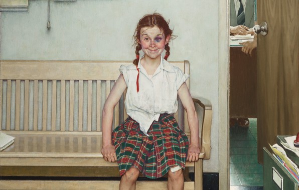 Picture 1953, Norman Rockwell, Norman Rockwell, The Young Lady with a Shiner, American painter and illustrator, …