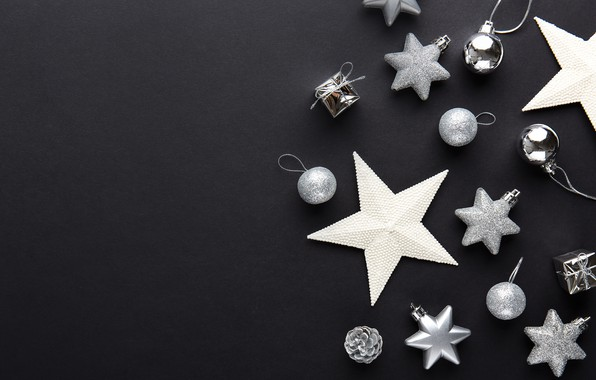 Picture decoration, balls, New Year, Christmas, silver, black background, black, Christmas, balls, New Year, decoration, Merry