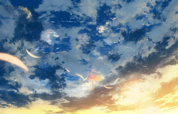 Picture the sky, girl, the sun, clouds, Y_Y