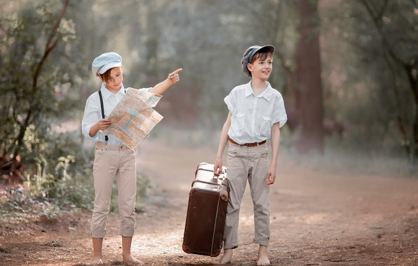 Picture road, forest, nature, children, map, suitcase, journey, boys, teenagers