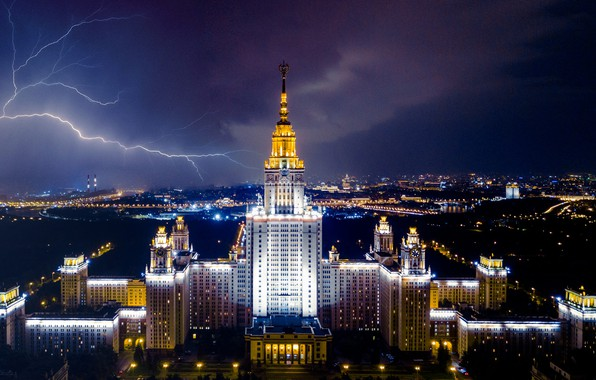 Picture the storm, clouds, the city, lightning, building, the evening, lighting, Moscow, architecture, MSU, University