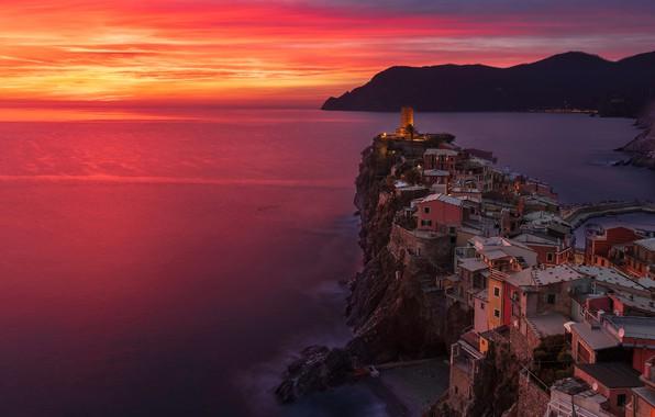 Picture sea, sunset, coast, building, home, Italy, Italy, The Ligurian sea, Vernazza, Vernazza, Cinque Terre, Cinque …