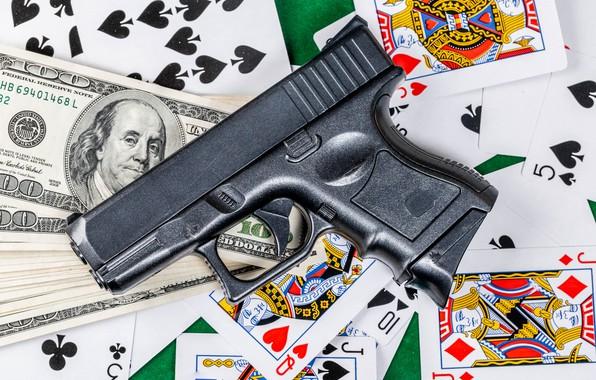 Picture card, gun, money, dollar