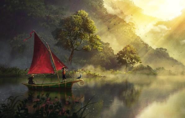 Picture Art, River, Artwork, Boat, Painting, Sailboat