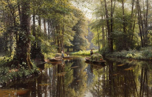 Picture Germany, Germany, Danish painter, 1913, Peter Merk Of Menstad, Peder Mørk Mønsted, Spreewald, Danish realist …