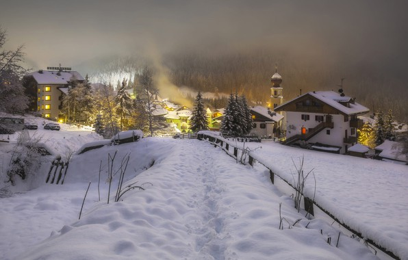 Picture winter, snow, trees, landscape, nature, fog, street, home, the evening, ate, lighting, Italy, forest, municipality, …