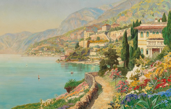 Picture Alois Arnegger, Austrian painter, Austrian painter, oil on canvas, Alois Arnegger, Scene from Sorrento, A …