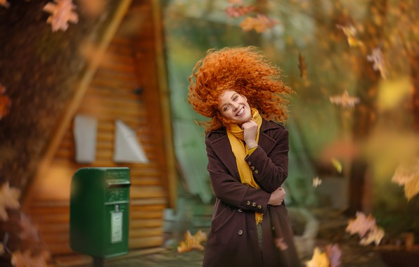 Picture autumn, leaves, girl, smile, mood, hair, red, curls, redhead, Yaroslav Gromov