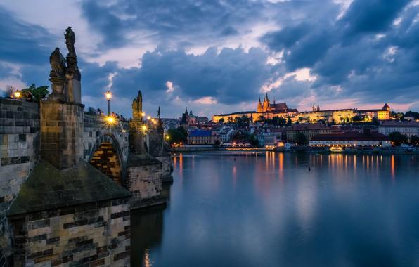 Picture the sky, clouds, bridge, lights, river, home, the evening, Prague, Czech Republic, lights, Charles Bridge