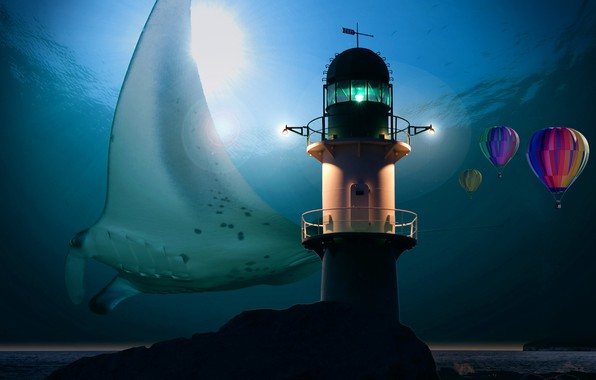 Picture The ocean, Sea, Depth, Lighthouse, Rays, sea, ocean, water, Under water, stingray, Balloon, SKAT, Marine …