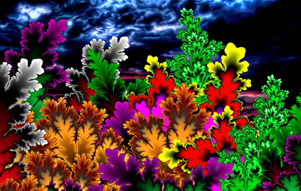 Picture summer, bright colors, abstraction, rendering, fantasy, fractals, figure, picture, stormy sky, summer night, fabulous flowers