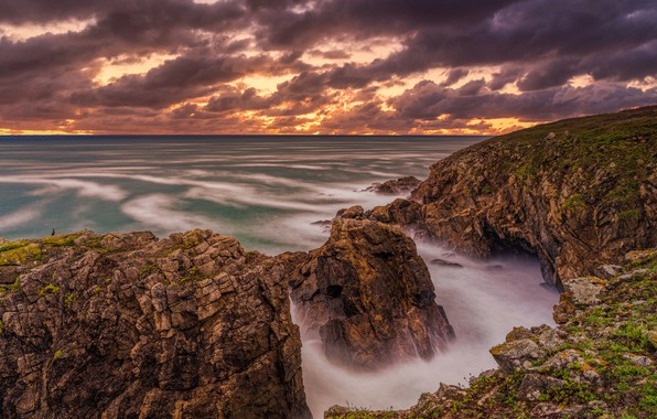 Picture sea, clouds, rocks, coast, France, Brittany