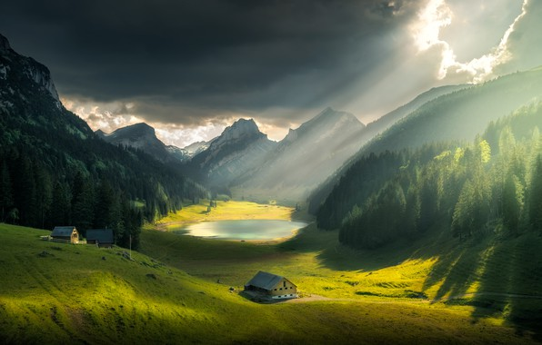 Picture the sky, clouds, rays, light, landscape, mountains, nature, lake, hills, home, Switzerland, valley, forest, meadows, …