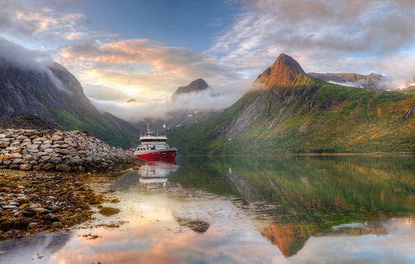 Picture sea, clouds, landscape, mountains, nature, reflection, stones, shore, ship, island, Norway, Senja, Ed Gordeev, Gordeev …