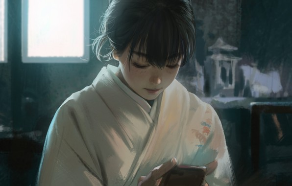 Picture Japanese, window, girl, phone, kimono, Asian, in the room, art, bangs, looking down, Rui Li