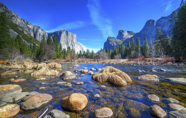 Picture forest, the sky, water, mountains, lake, Park, stones, Yosemite, Yosemite National Park