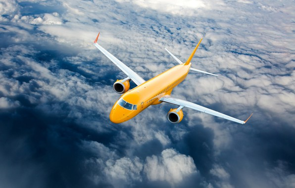 Picture clouds, yellow, height, the plane, flies, in the sky, passenger
