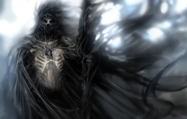 Picture death, fear, skull, skeleton, Reaper, rags, memento mori, Sawan, looking into the soul