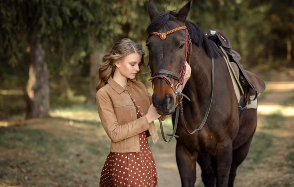 Picture girl, trees, nature, Park, animal, horse, horse, dress, jacket, alley, Victoria Dubrovskaya