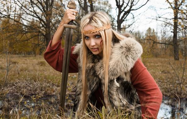 Photo wallpaper Girl, Forest, Fur, Sword, Tatiana Finko