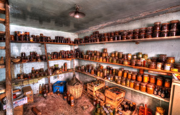 Picture food, cellar, canned, naturalism