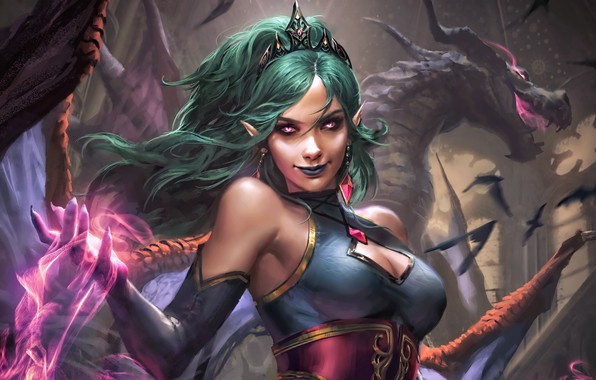 Picture girl, fantasy, magic, cleavage, horns, breast, wings, birds, dragon, digital art, artwork, concept art, fantasy …