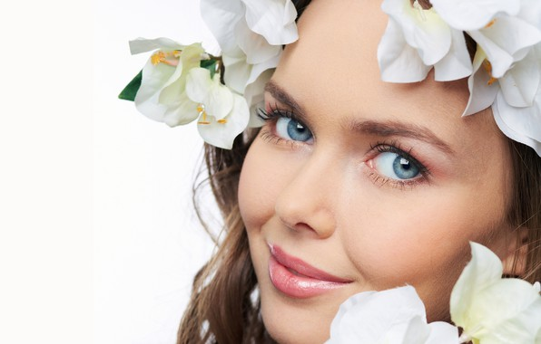 Picture look, flowers, close-up, face, smile, makeup, white background, brown hair, beauty