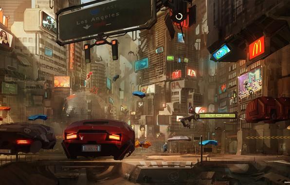Picture Auto, The city, The game, Future, Machine, Art, Art, Fiction, Concept art, Cyberpunk 2077, Cyberpunk, …