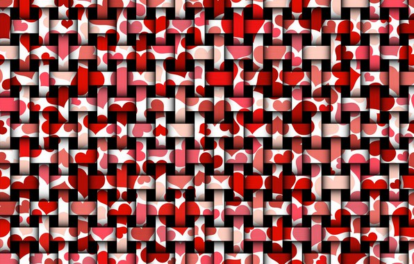 Picture strips, hearts, the dark background