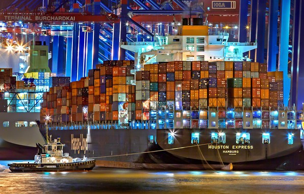 Photo wallpaper Port, Night, The ship, A container ship, Cranes, Port, Tug, Vessel, Hapag-Lloyd, Container Ship, Tug, ...